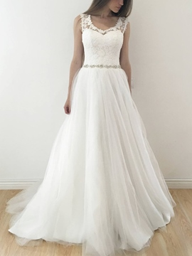 Ericdress Straps Beading Lace Wedding Dress