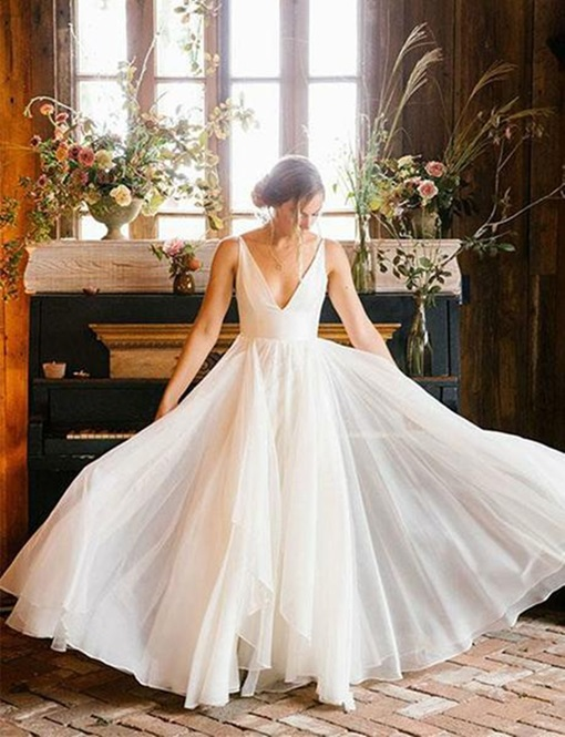 Ericdress V-Neck A-Line Country Wedding Dress 2019