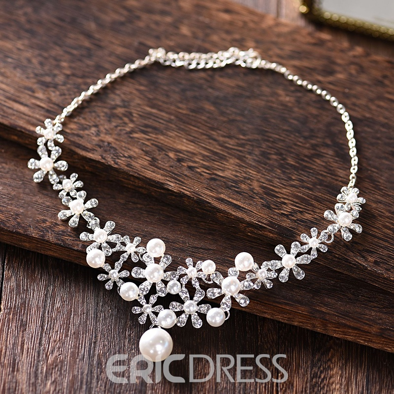 Floral Necklace Gemmed Jewelry Sets