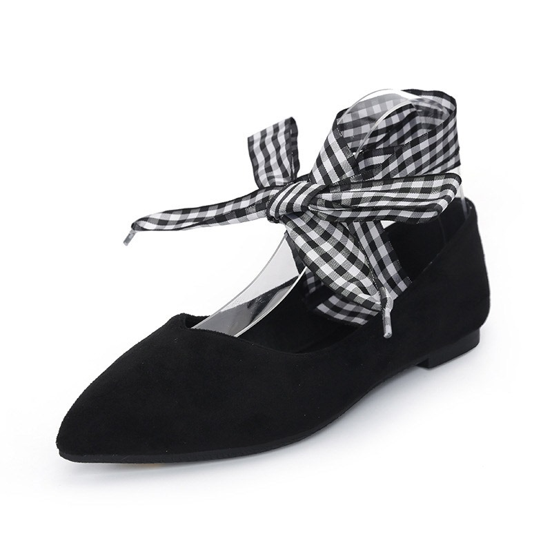 Ericdress Faux Suede Lace-Up Block Heel Women's Flats