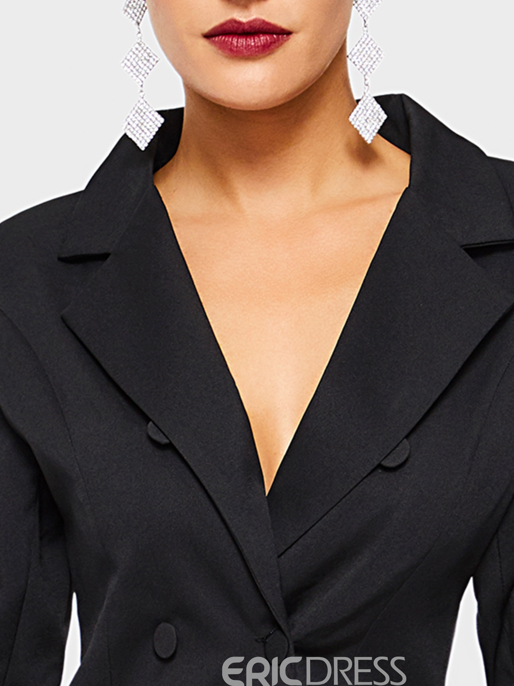 Ericdress Flare Sleeve Notched Lapel Plain Office Lady Black Blazer