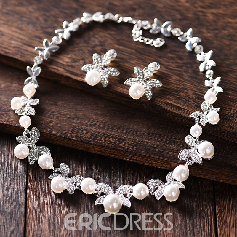 Korean Pearl Inlaid Floral Jewelry Sets