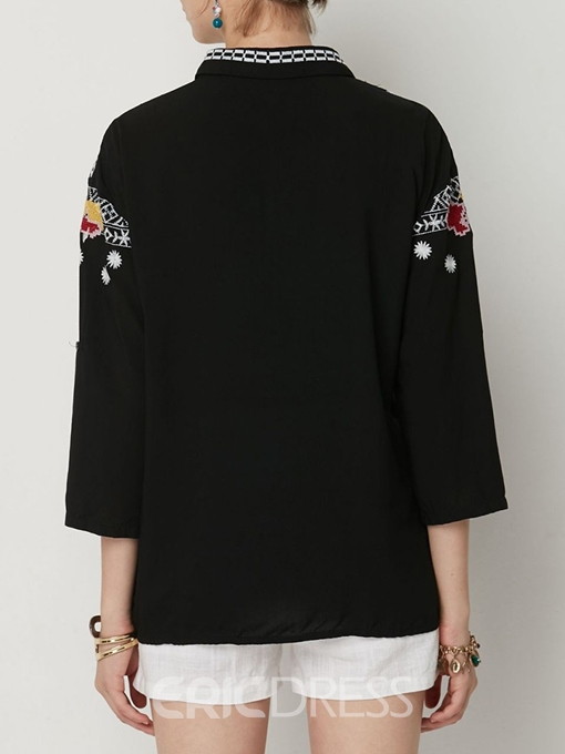 Ericdress Lapel Floral Embroidery Long Sleeve Blouse