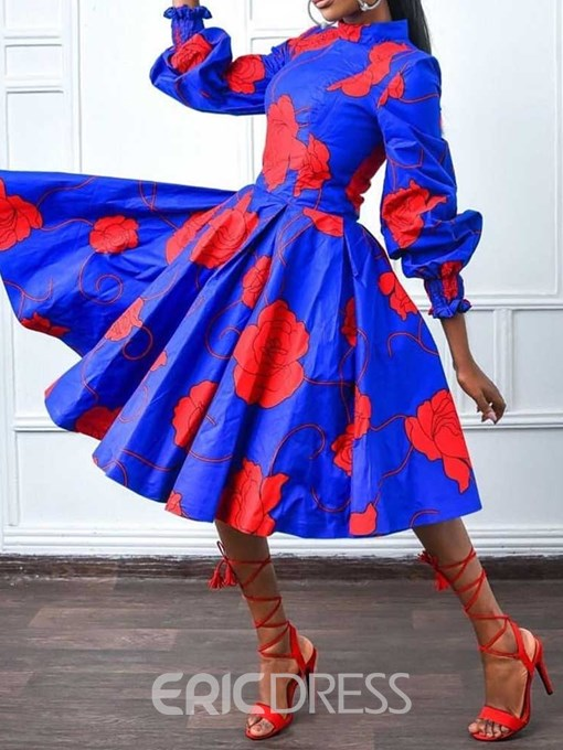 Ericdress African Fashion A-Line Mid-Calf Floral Pullover Dress