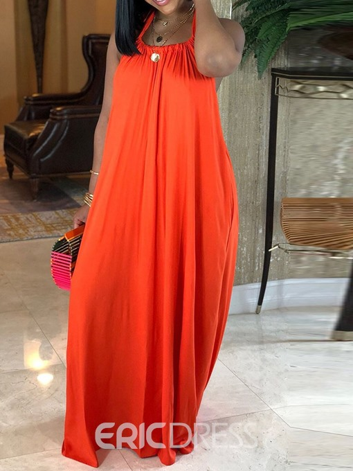 Ericdress Floor-Length Pleated Sleeveless Pullover Plain Dress