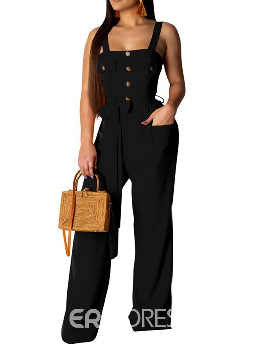 Ericdress Button Strap Plain Slim Wide Legs Jumpsuit