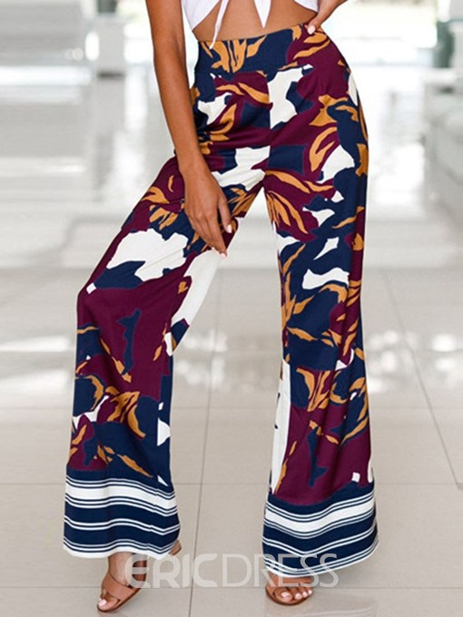 Ericdress Print Floral Loose Wide Legs Casual Pants
