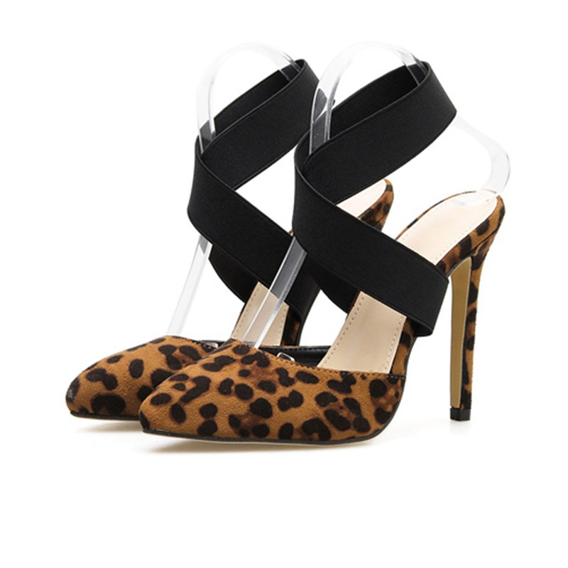 Ericdress Leopard Print Pointed Toe Elastic Band Stiletto Heel Women's Sandals