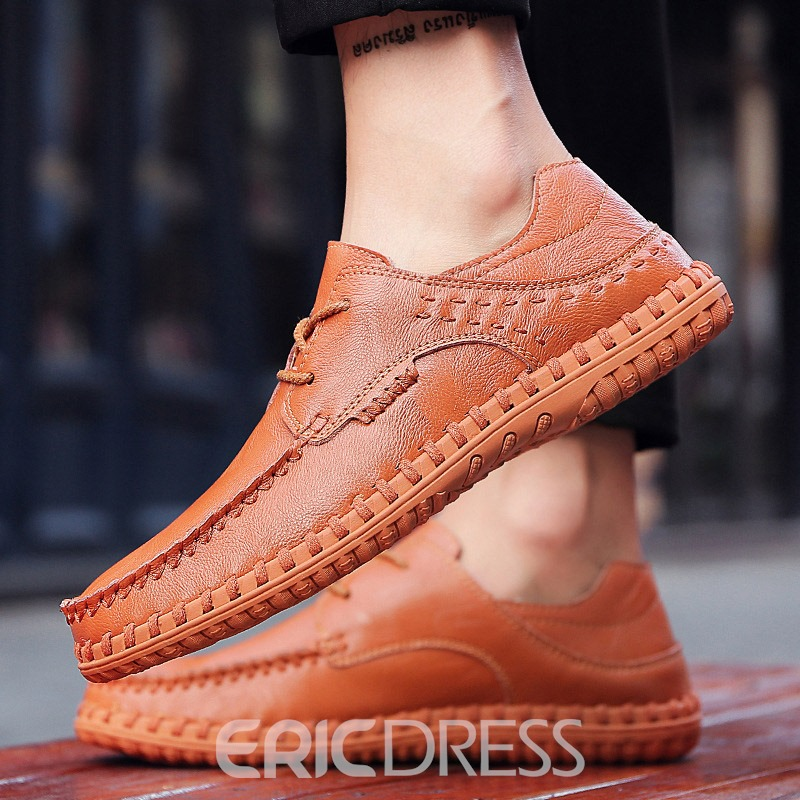 Ericdress Plain Round Toe Lca-Up Men's Casual Shoes