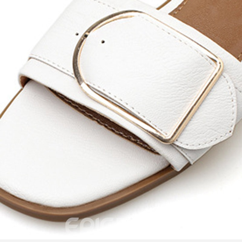 Ericdress Plain Buckle Block Heel Women's Slippers