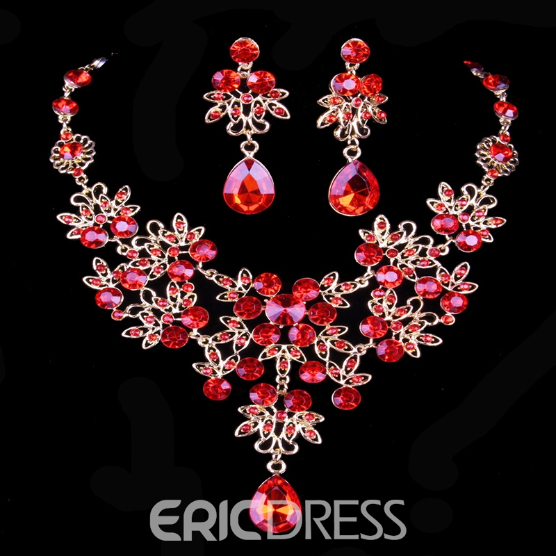 Diamante Ethnic Floral Jewelry Sets