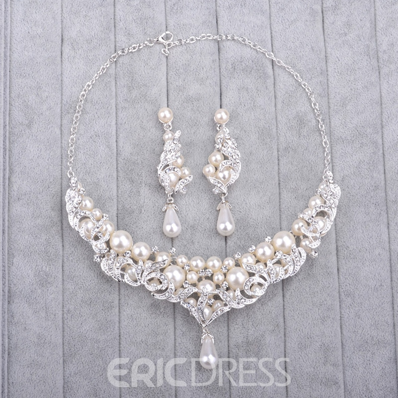 Floral Korean Pearl Inlaid Jewelry Sets