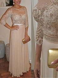 Ericdress Pearls Lace Mother of the Bride Dress with Sleeves