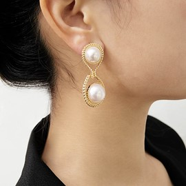 Ericdress Pearl Golden Earrings