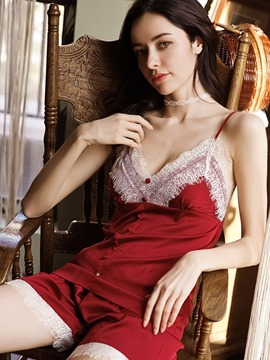 Ericdress Color Block Lace Satin Pajama Camisole Sets Sexy Nightwear