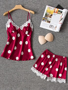 Ericdress Lace Polka Dots Satin Pajama Suit Camisole Short Sets