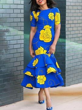 Ericdress Ruffles Floral Round Neck Print African Fashion Dress