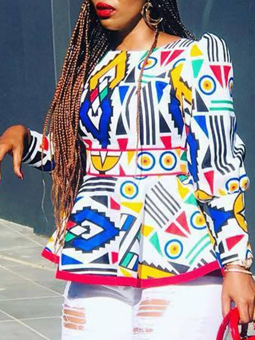 Ericdress Geometric Dashiki Nine Points Sleeve Blouse