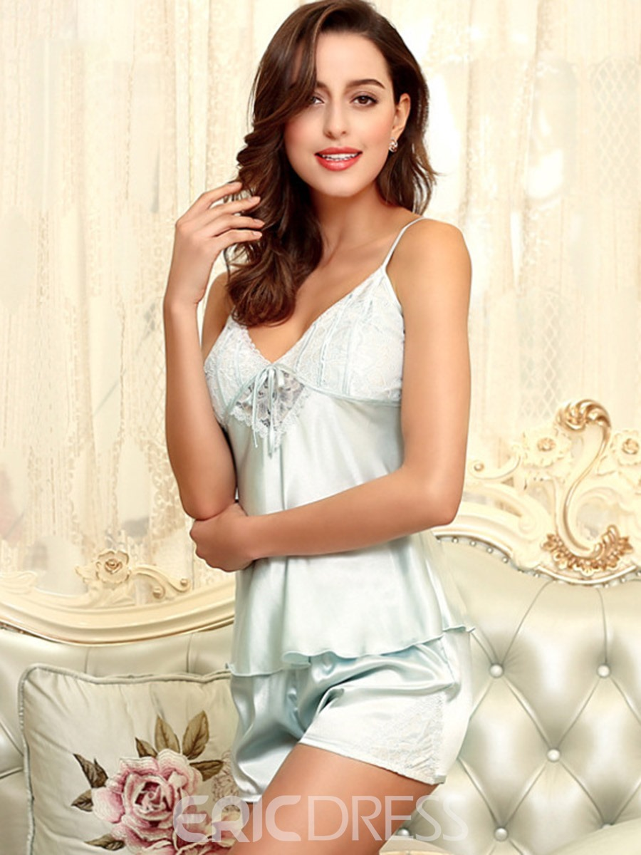 Ericdress Women Sexy Lace Satin Pajama Camisole Short Sets Loungewear