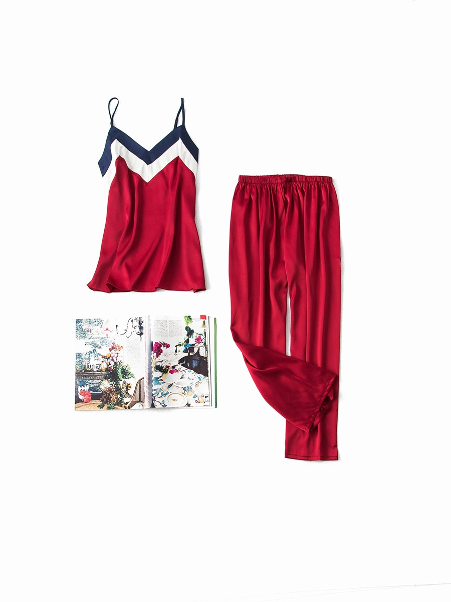 Ericdress Color Block Pullover V-Neck Sleeveless Satin Pajama Suit