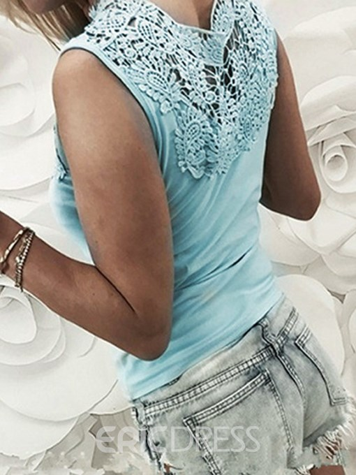 Ericdress Sleeveless V-Neck Patchwork Lace Sexy T-Shirt