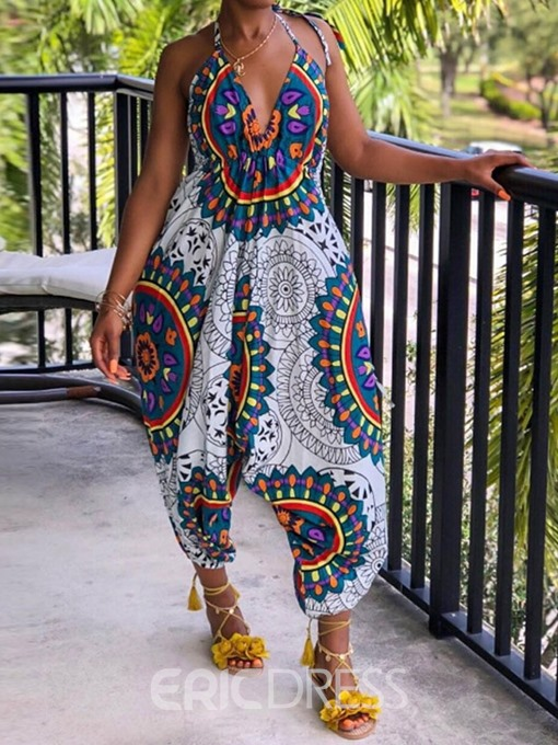 Ericdress African Fashion Lace-Up Floral Loose Jumpsuit