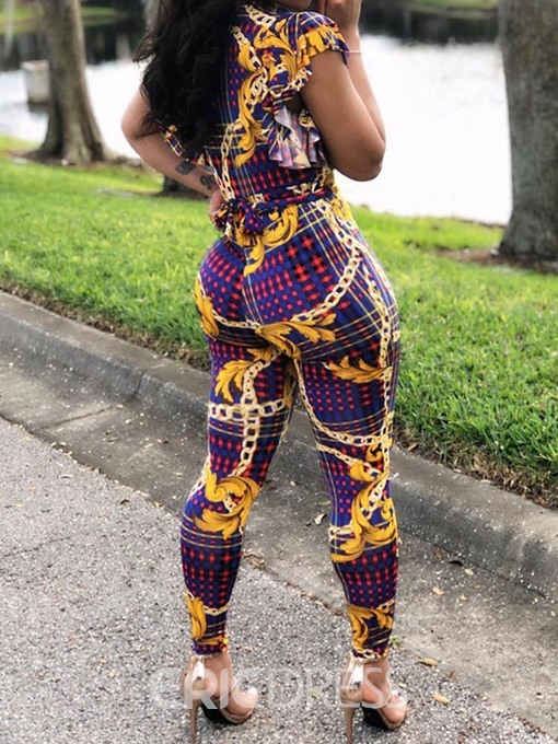 Ericdress Print Floral African Fashion Sexy Loose Jumpsuit