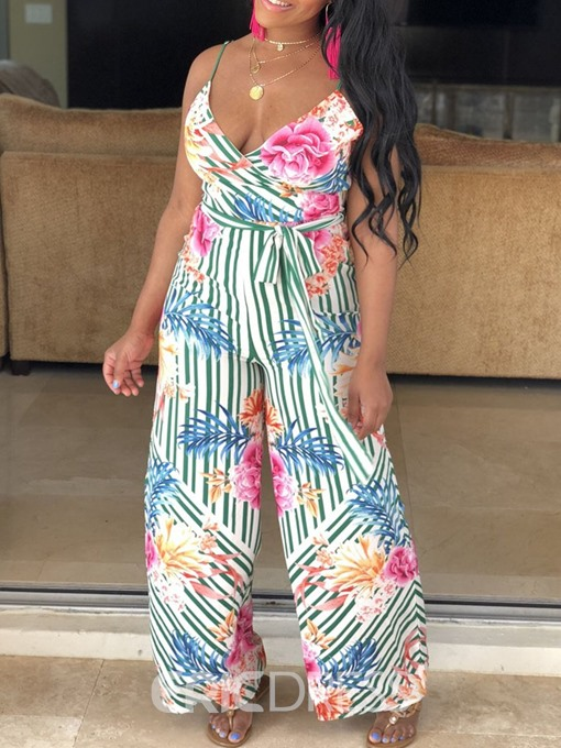 Ericdress Strap Floral African Style Loose Wide Legs Jumpsuit