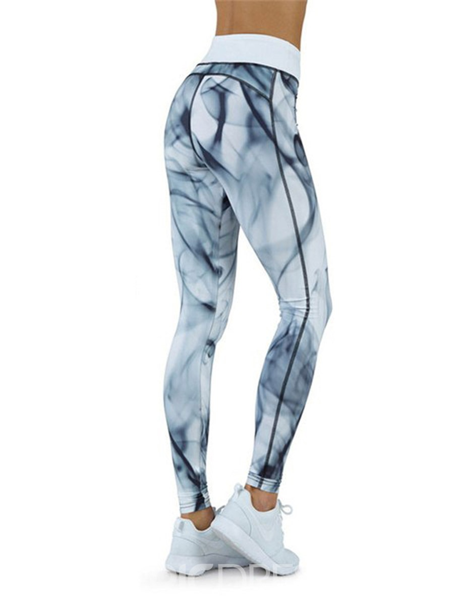 Ericdress Print Quick Dry Color Block Breathable Full Length Leggings