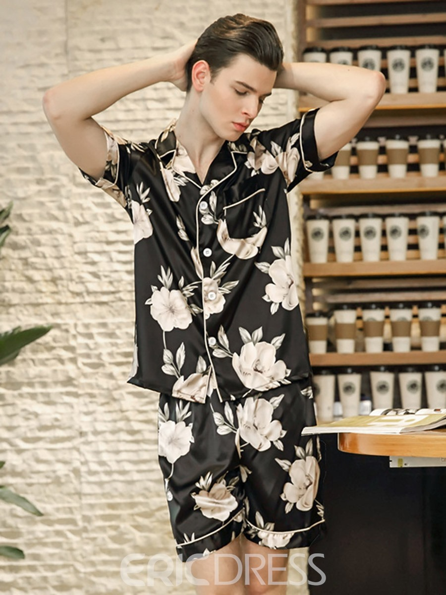 Ericdress Men Print Floral Short Sleeve Single-Breasted Pajamas Sets