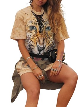 Ericdress Round Neck Animal Fashion Loose T-Shirt