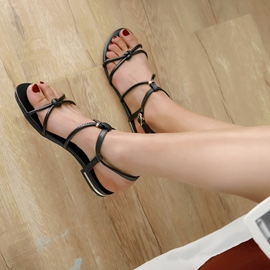 Ericdress PU Buckle Open Toe Block Heel Women's Flat Sandals