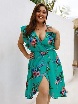 Ericdress Plus Size Split V-Neck Print A-Line Dress