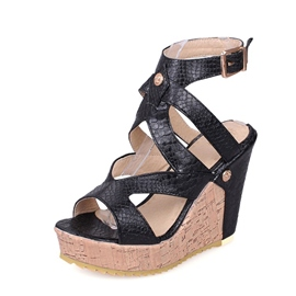 Ericdress PU Rivet Wedge Heel Women's Sandals