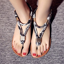 Ericdress Serpentine Thong Block Heel Women's Flat Sandals