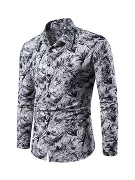 Ericdress Floral Print Button Up Single-Breasted Mens Casual Shirt