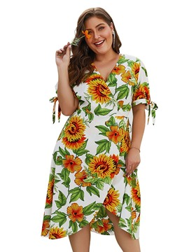 Ericdress Plus Size V-Neck Short Sleeve Print Regular Travel Look Dress