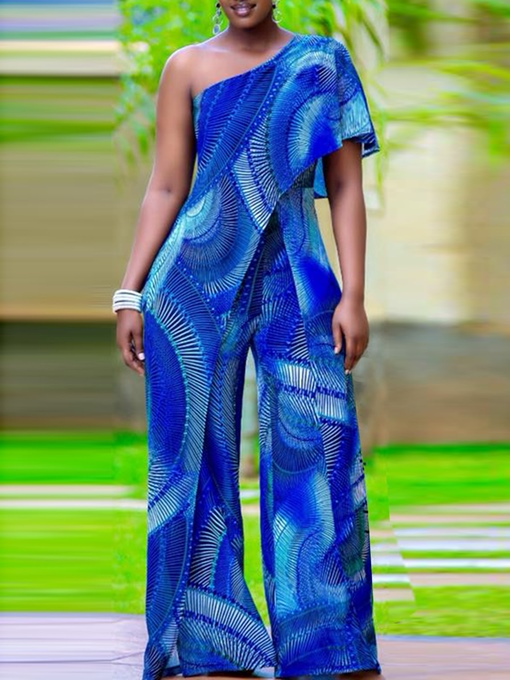 Ericdress African Fashion Print Oblique Shoulder Backless Slim Wide Legs Jumpsuit
