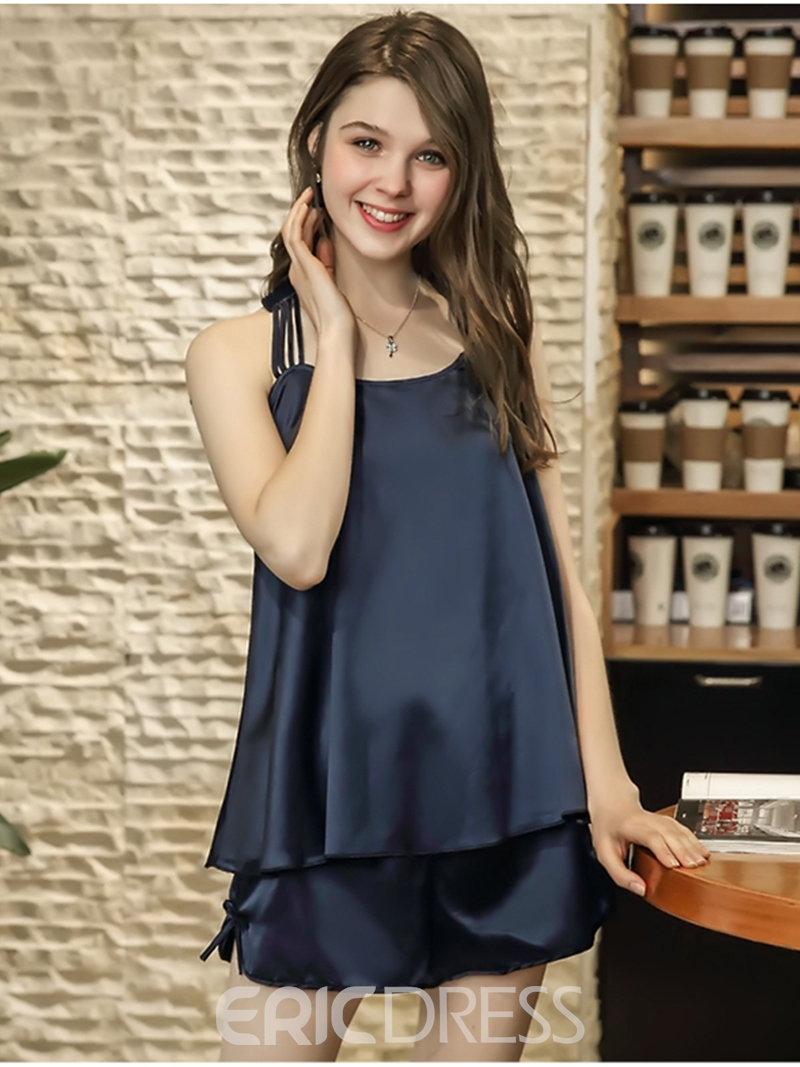 Ericdress Back Hollow Satin Pajama Camisole Short Sets Sexy Nightwear