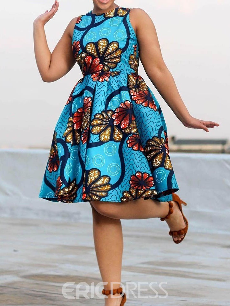 Ericdress Knee-Length Round Neck Sleeveless Floral Pullover Dress