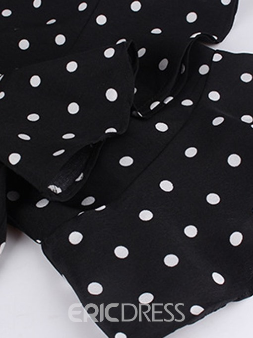Ericdress V-Neck Polka Dots Lace-Up Sweet Plus Size Dress