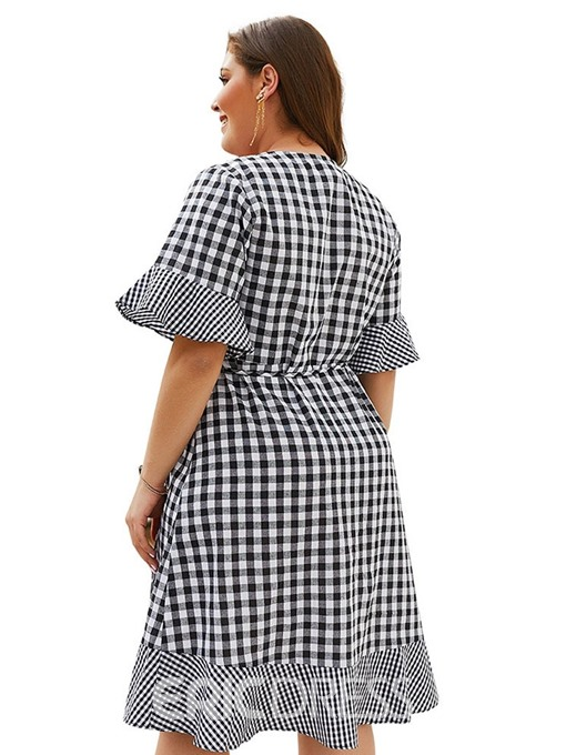 Ericdress Plus Size V-Neck Half Sleeve Above Plaid Dress