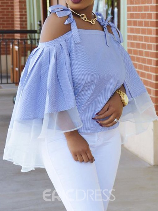 Ericdress Patchwork See-Through Lace-Up Blouse
