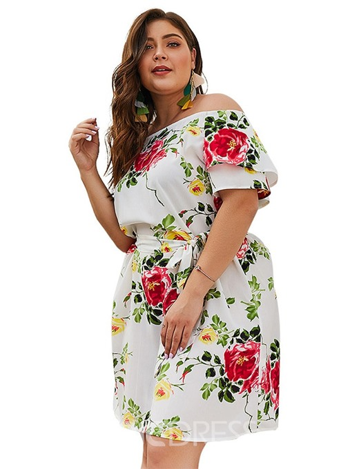 Ericdress Off Shoulder Short Sleeve Plus Size Floral A-Line Dress
