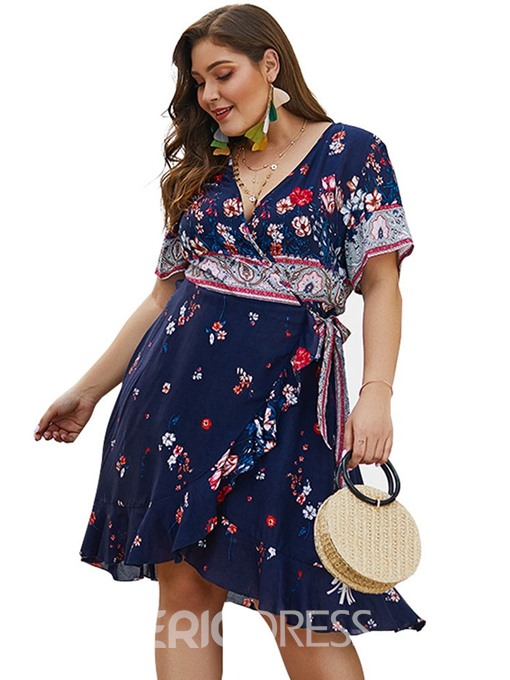 Ericdress Plus Size Short Sleeve V-Neck Lace-Up Floral Travel Look Dress