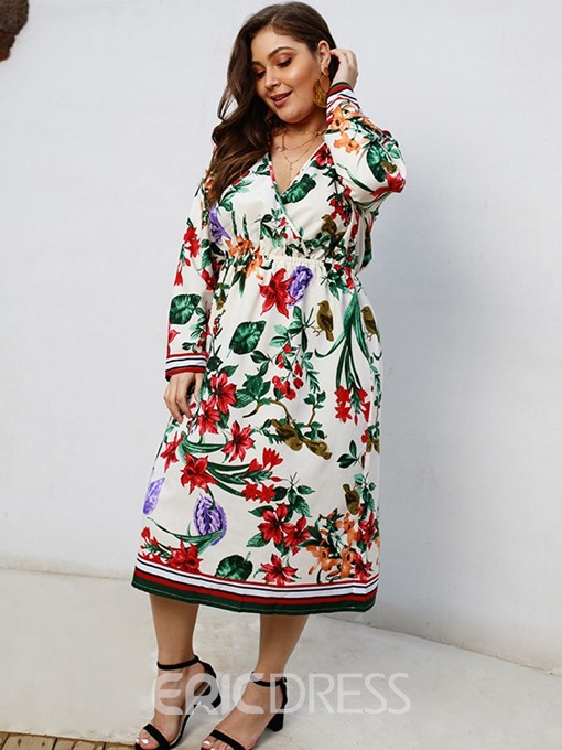 Ericdress Plus Size Print V-Neck Long Sleeve Regular Sweet Dress