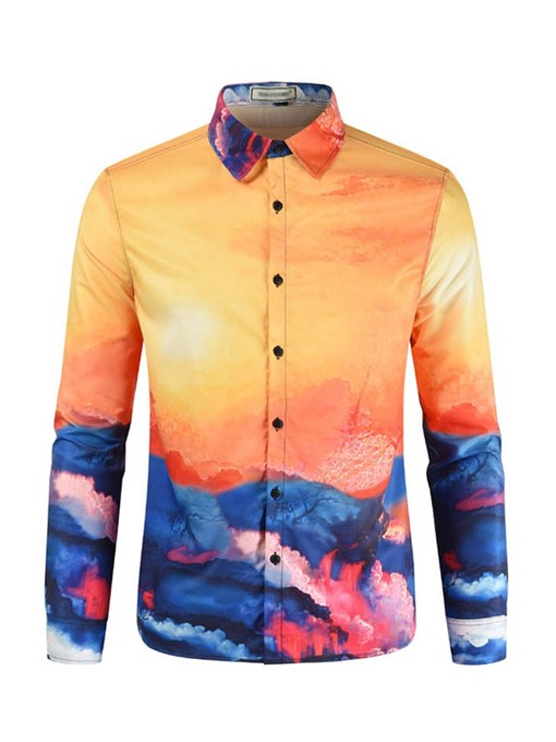 Ericdress Lapel Print Casual Slim Mens Single-Breasted Spring Shirt