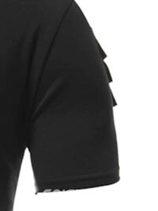 Ericdress Plain Asymmetric Mens Short Sleeve T-shirt
