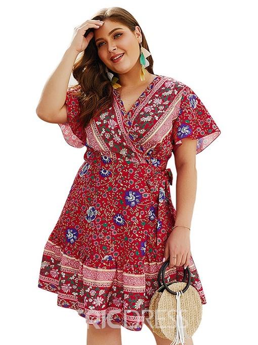 Ericdress Plus Size African Fashion Lace-Up Short Sleeve A-Line Regular Dress