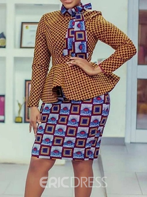 Ericdress Print Bodycon Office Lady Slim Shirt And Skirt Two Piece Sets